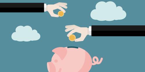 Saving money concept . Flat design vector illustration